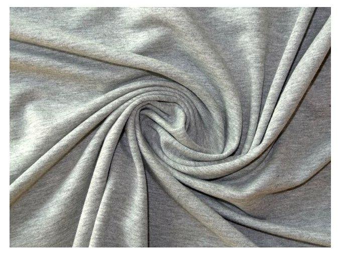 Elastická teplákovina středně šedý melír 250g (zbytek S VADOU)