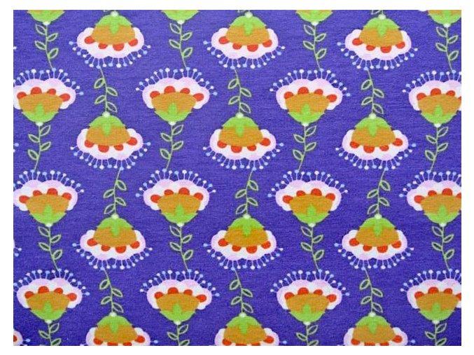 Elastický úplet kytky fialové