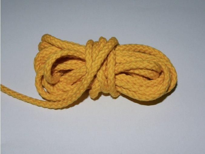 Šňůrka oděvní kulatá žlutá 5,3mm
