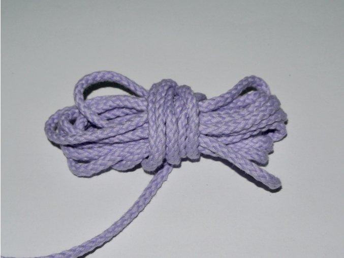 Šňůrka oděvní kulatá světle fialová 5,3mm