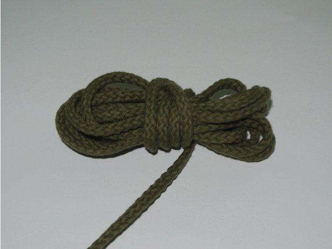 Šňůrka oděvní kulatá khaki zelená 5,3mm