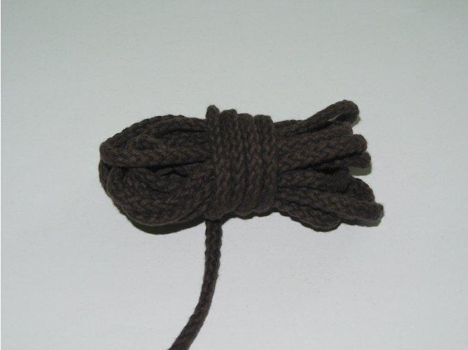 Šňůrka oděvní kulatá hnědá 5,3mm