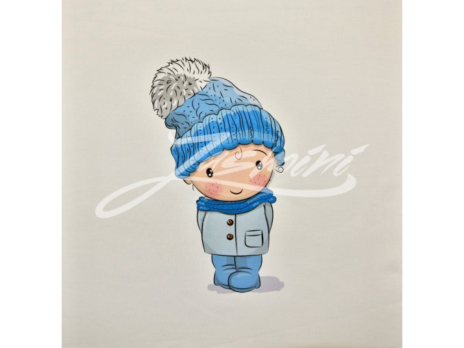 Elastická teplákovina chlapec v zimní čepici (panel)