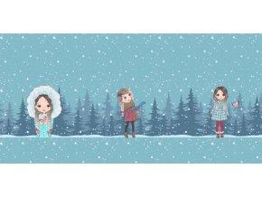 Elastická teplákovina dívky v zimním lese (panel)