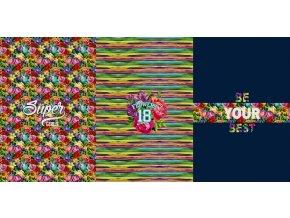 Elastická teplákovina barevné květy s nápisy (panel)