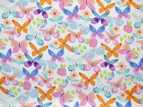 Plátno motýlci pasteloví