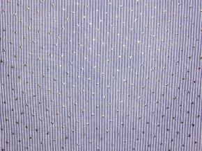 Plátno proužky se stříbrnými srdíčky