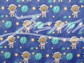 Elastická teplákovina medvídek kosmonaut na tmavém džínsu