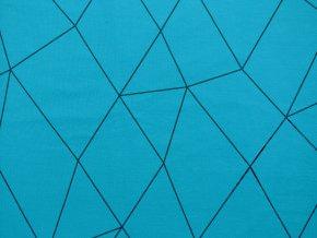 Elastická teplákovina geometrie na tyrkysové
