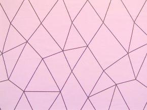 Elastická teplákovina geometrie na světle růžové (zbytek)