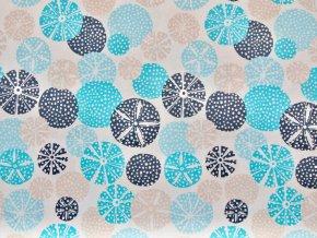 Bavlněný úplet jednolíc tyrkysovo-modré kulaté květy