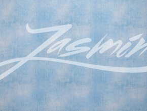 Elastická teplákovina džínový vzhled světle modrý (digitisk)