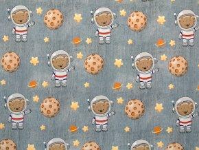 Elastická teplákovina medvídek kosmonaut na šedém džínsu