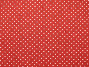 Plátno bílý puntík na červené