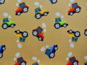 Elastický úplet barevné traktory na pískové (digitisk)
