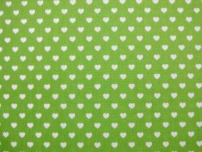 Plátno bílá srdíčka na zelené