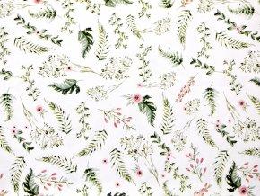 Plátno drobné starorůžové květy (digitisk)