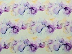 Elastická teplákovina akvarelové květy (digitisk)