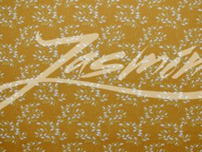 Plátno bílé větvičky na hořčicové