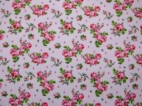 Plátno růžičky na růžové