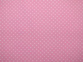 Plátno bílý puntík na světle růžové