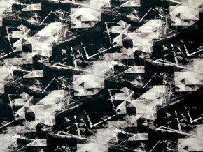 Elastická teplákovina černo-hnědá abstrakce (digitisk)