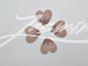 Knoflík srdce s ornamenty starorůžové velké