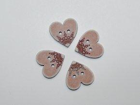 Knoflík srdce s ornamenty starorůžové malé