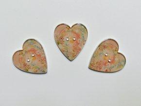 Knoflík srdce srdce s pastelovými květy