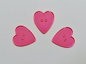 Knoflík srdce neon růžové