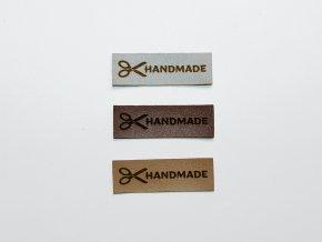 Štítek handmade s nůžkami (koženka)
