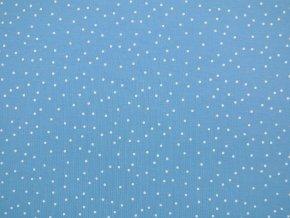 Elastická teplákovina drobný puntík na světle modré 290g