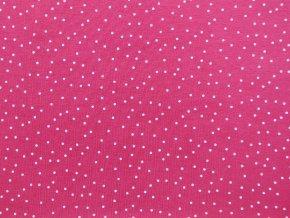 Elastická teplákovina drobný puntík na sytě růžové