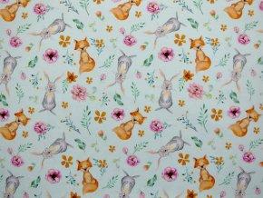 Elastická teplákovina zajíčci, lišky na mátové (digitisk) - zbytek S VADOU