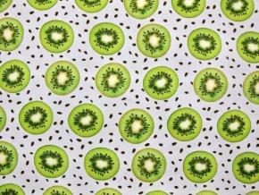 Elastický úplet kiwi na bílé (digitisk)