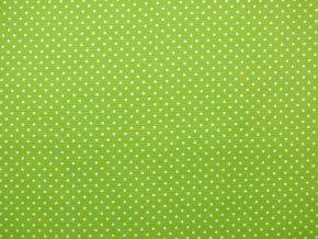 Plátno bílý puntík na zelené (zbytek S VADOU)