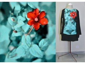 Viskozový úplet červený květ (panel)