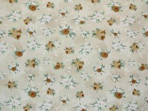 Elastická teplákovina drobné květy na béžové (digitisk)