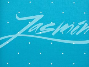 Elastická teplákovina bílý puntík na tyrkysové 290g