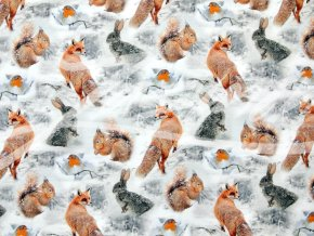 Elastická teplákovina zvířátka v zimě (digitisk)