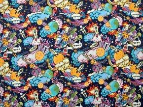 Elastická teplákovina vesmírný komiks (digitisk)