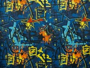 Elastická teplákovina graffiti modré  (digitisk)