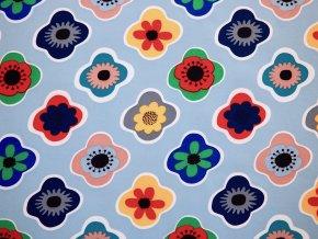 Softshell barevné kytky na modré