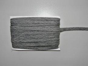 Šňůrka plochá 17mm tmavě šedý melír