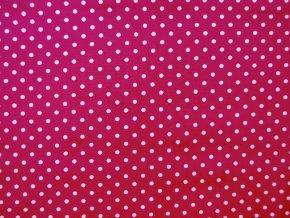 Popelín drobný puntík na sytě růžové