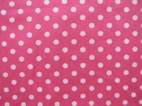 Popelín velký puntík na růžové