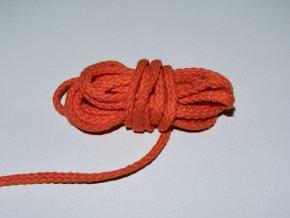 Šňůrka oděvní kulatá oranžová 5,3mm