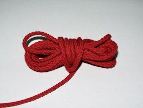 Šňůrka oděvní kulatá červená 5,3mm