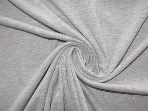 Bavlněný úplet jednolíc světle šedý melír (obsahuje PES) - vyšší gramáž