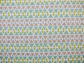 Elastická teplákovina trojúhelníčky zelené/hnědošedé